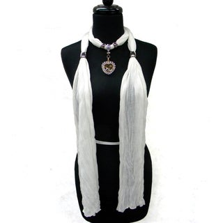 Fashion Jewelry Scarf White with Topaz Heart Pendant