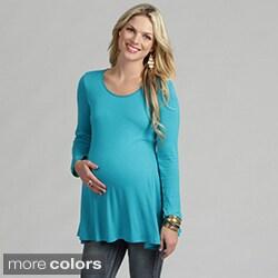 24/7 Comfort Apparel Women's Long-sleeve Crewneck Maternity Tunic Top