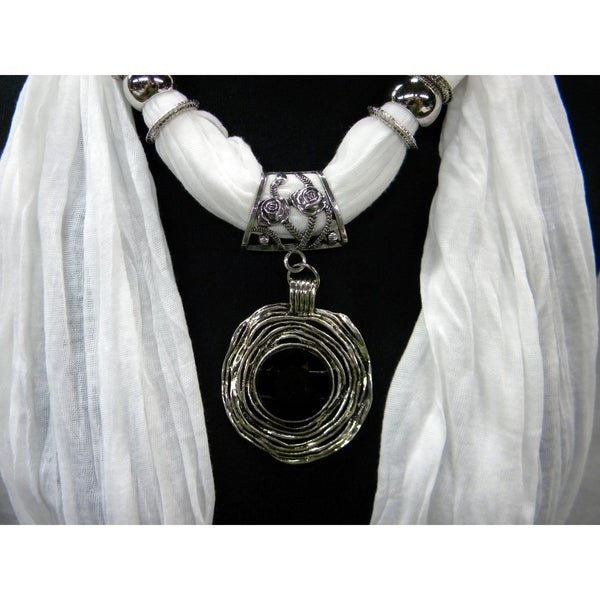 White Fashion Jewelry Scarf with Twilight Pendant