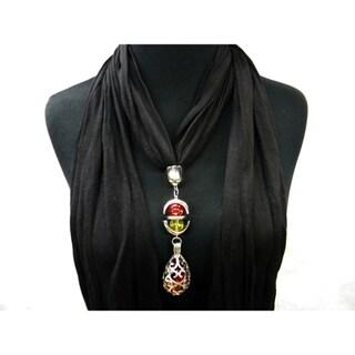 Black Fashion Jewelry Scarf Cut Filigree Drop Pendant
