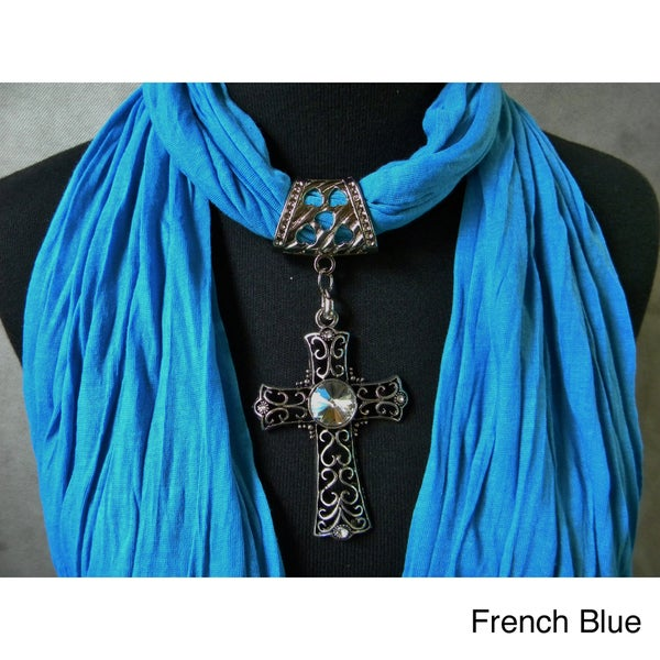 Fashion Jewelry Scarf With Crystal Peacock Pendant Blue Fashion Jewelry Scarf