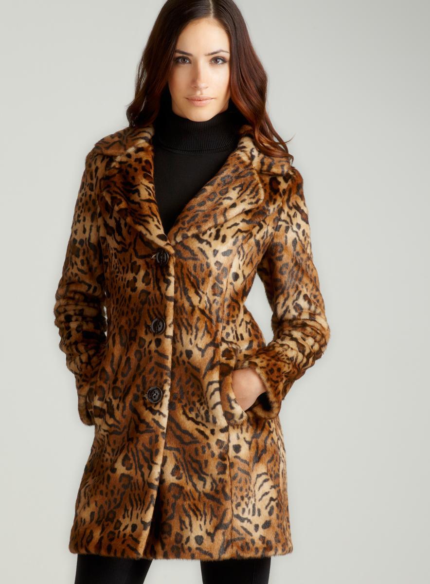 Gallery Faux Fur Animal Print Coat