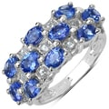 Malaika Sterling Silver Oval-cut Tanzanite and White Topaz Ring