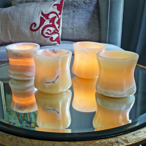 Set of 4 Ramses Alabaster Votives (Egypt)