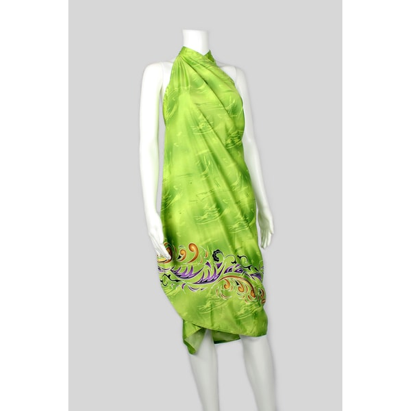 Green Sarong with Easy Tie Straps
