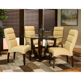 Contemporary Buff Leatherette Dining Chairs (Set of 2)