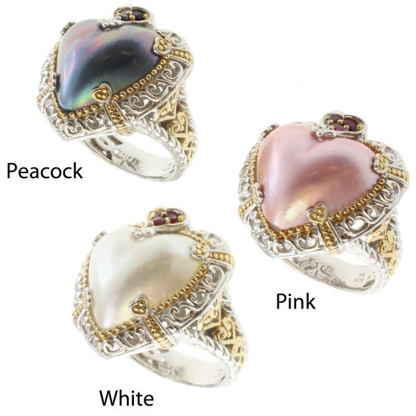 Michael Valitutti Two-tone Mabe Pearl and Gemstone Ring (16-17 mm)
