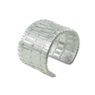 Handcrafted Wide Matt Silver Woven Cuff Bracelet (India)