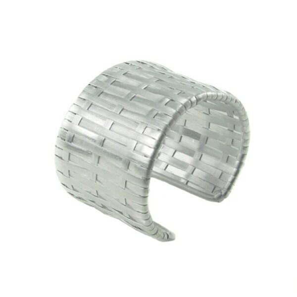 Handcrafted Wide Matt Silver Woven Cuff Bracelet (India)