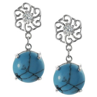 Tressa Silver Simulated Turquoise and Cubic Zirconia Dangle Earrings