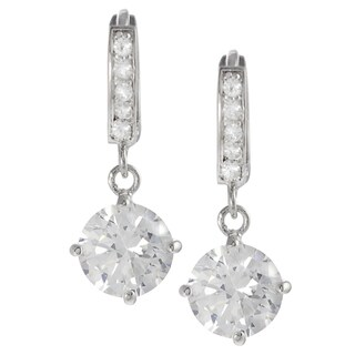 Tressa Sterling Silver Cubic Zirconia Mini Hoop Dangle Earrings