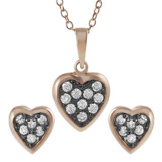 Tressa Rose Goldplated Silver Cubic Zirconia Heart Jewelry Set