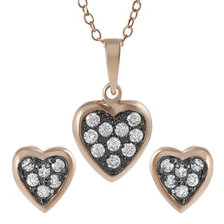 Journee Collection  Rose Goldplated Silver Cubic Zirconia Heart Jewelry Set