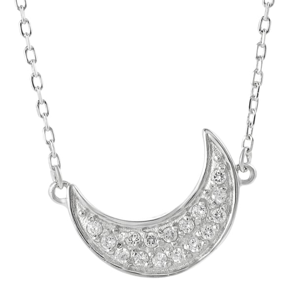 Journee Collection Sterling Silver White Cubic Zirconia Crescent Moon Necklace