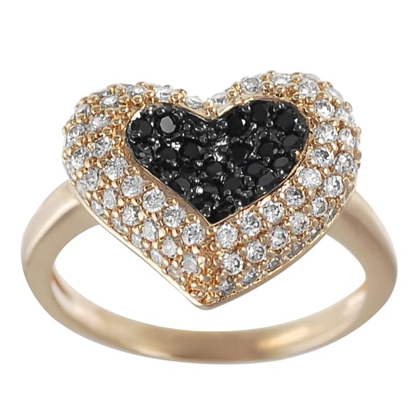Journee Collection Rose Goldplated Silver Black/ White Cubic Zirconia Heart Ring