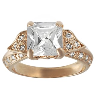 Journee Collection Rose Goldplated Silver Princess-cut Cubic Zirconia Regal Ring