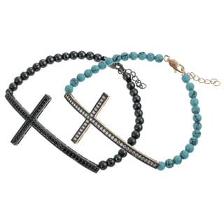 Tressa Silver CZ and Acrylic Bead Sideways Cross Bracelet
