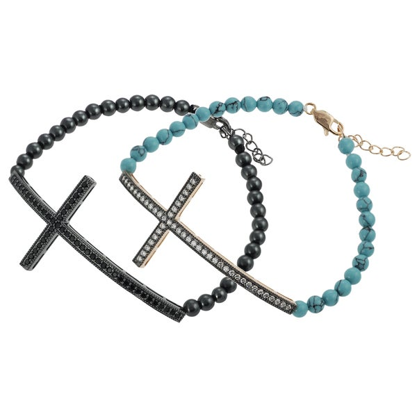 Journee Silver CZ and Acrylic Bead Sideways Cross Bracelet
