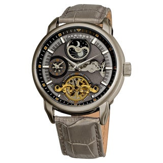 Akribos XXIV Men's Mechanical Stainless-Steel Dual-Time Open-Heart Leather-Strap Watch