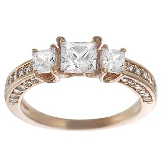 Tressa Rose Goldplated Silver Princess-cut Cubic Zirconia 3-stone Ring