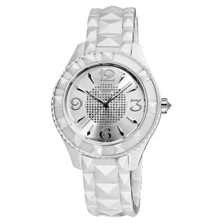 Akribos XXIV Women's White Ceramic Pyramid-Cut Quartz Watch