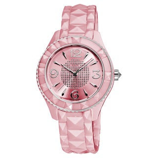 Akribos XXIV Women's Pink Ceramic Pyramid-Cut Quartz Watch