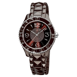 Akribos XXIV Women's Black Ceramic Pyramid-Cut Quartz Brown Watch