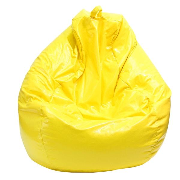 Gold Medal Yellow Large Tear Drop Wet Look Vinyl Bean Bag
