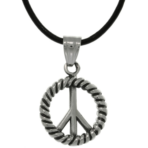 CGC Stainless Steel Peace Symbol Medallion Leather Cord Necklace