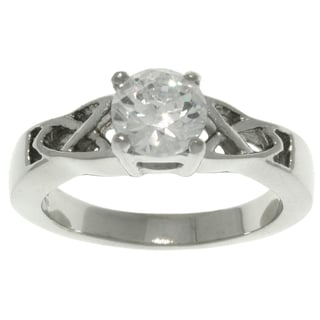 CGC Stainless Steel Cubic Zirconia Solitaire Celtic Frame Ring