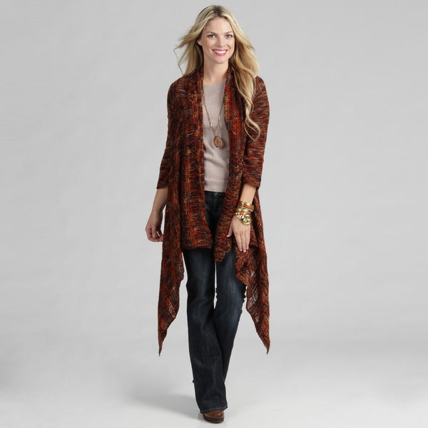 Tabeez Women's Rust Red Marble Knit Long Cardigan