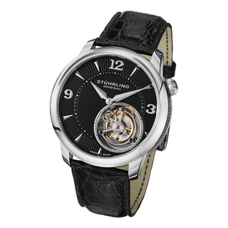 Stuhrling Original Men's Eclipse Tourbillon Mechanical Alligator Strap Watch