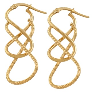 Fremada 14k Yellow Gold Polished and Textured Italian Hoop Earrings