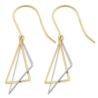 Fremada 14k Two-tone Gold Triangle Dangle Earrings