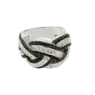 Finesque Silver Overlay Black Diamond Accent Braided Ring
