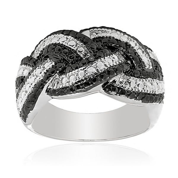 Finesque Silver Overlay Diamond Accent Braided Ring