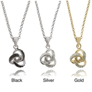 Finesque Sterling Silver Diamond Accent Love Knot Necklace
