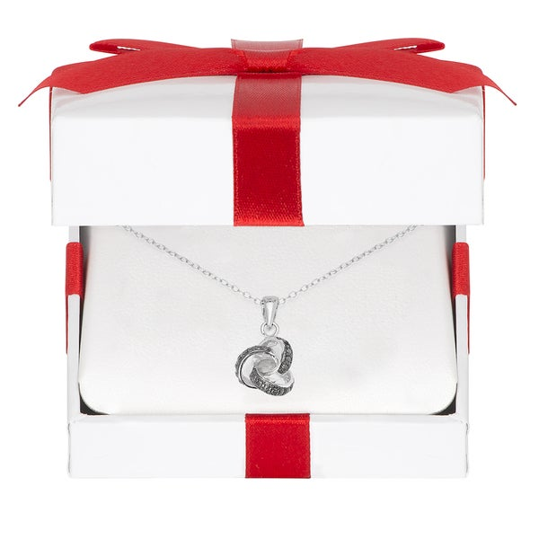 Finesque Sterling Silver Diamond Accent Love Knot Necklace with Red Bow Gift Box
