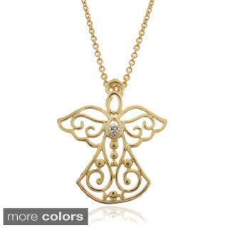 Finesque 18k Gold or Silver Overlay Diamond Accent Angel Necklace