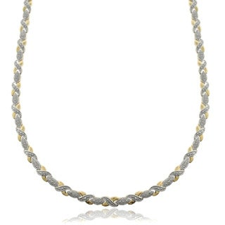 Finesque Two-tone Silver Overlay Diamond Accent 'XO' Necklace