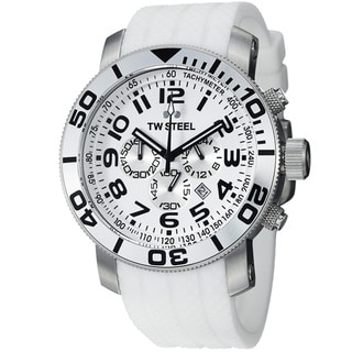 TW Steel Men's 'Grandeur Dive' White Dial White Rubber Strap Watch