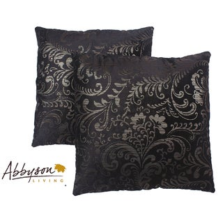 Abbyson Living Composure 18-inch Black/ Silver Decorative Pillows (Set of 2)