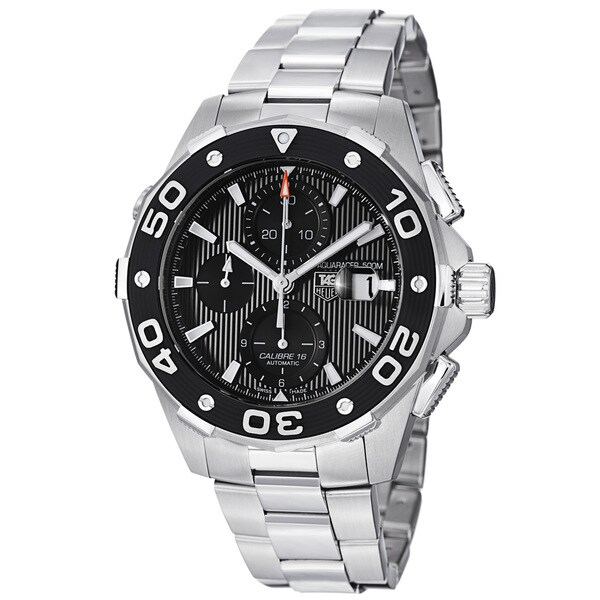 Tag Heuer Men's 'Aquaracer 500' Black Dial Stainless Steel Watch