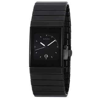 Rado Men's 'Ceramica' Black Dial Black Ceramic Bracelet Quartz Watch