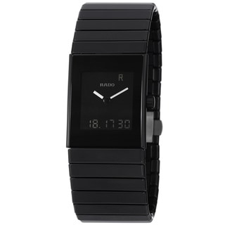Rado Men's 'Ceramica' Black Digital Dial Quartz Bracelet Watch