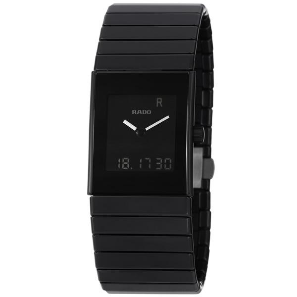 Rado Men's 'Ceramica' Black Digital Dial Quartz Bracelet Watch