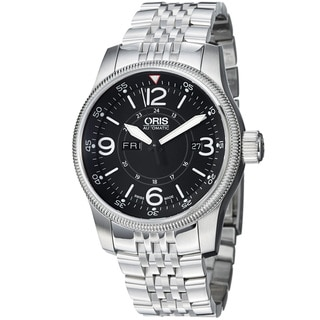 Oris Men's 'Big Crown' Black Dial Stainless Steel Automatic Watch