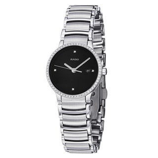 Rado Women's 'Centrix' Black Diamond Dial Stainless Steel Watch
