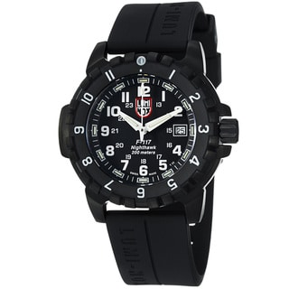 Luminox Men's 'NightHawk' Black Dial Black Rubber Strap Watch