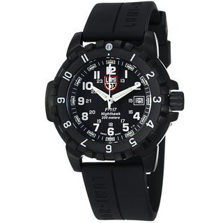Luminox Men's A.6401 'NightHawk' Black Dial Black Rubber Strap Watch